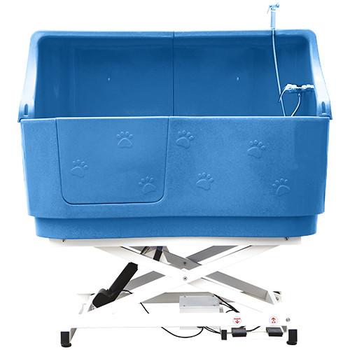 elektrische Hundebadewanne - Hebevorrichtung Höhe 43-130 Blau mit Spritzschutz