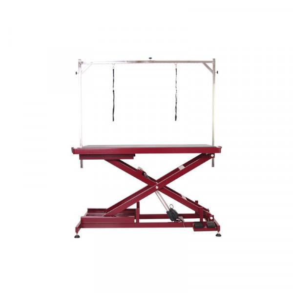 elektrischer Schertisch 125 x 65cm Tischplatte Farbe Burgunderrot