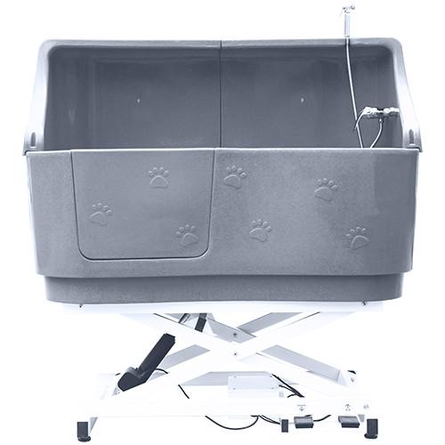 elektrische Hundebadewanne - Hebevorrichtung Höhe 43-128 Grau mit Spritzschutz